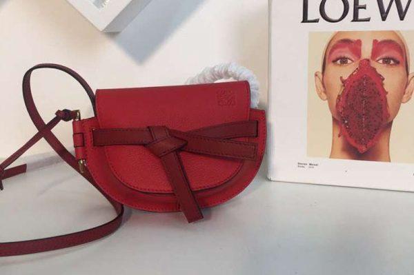Replica Loewe Mini Gate Bags Original Soft Calf Leather Red