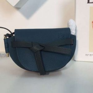 Replica Loewe Mini Gate Bags Original Soft Calf Leather Blue