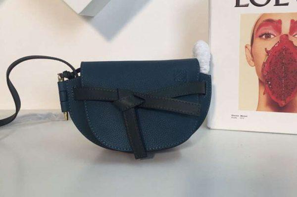 Replica Loewe Mini Gate Bags Original Soft Calf Leather Blue