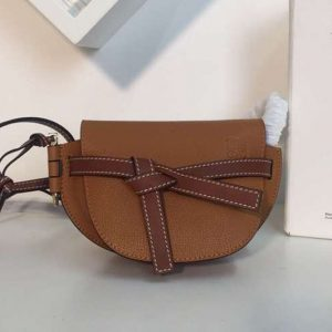 Replica Loewe Mini Gate Bags Original Soft Calf Leather Tan