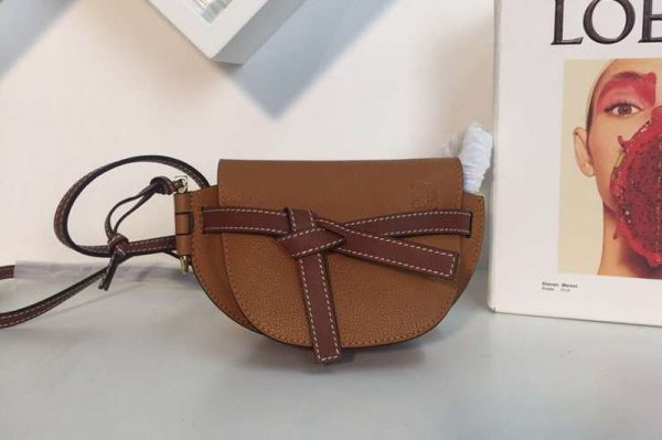 Replica Loewe Mini Gate Bags Original Soft Calf Leather Tan