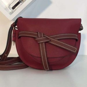 Replica Loewe Gate Small Bags Original Soft Calf Leather Wine