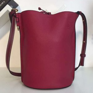 Replica Loewe Gate Bucket Bags Soft Grained Calf Leather Wine