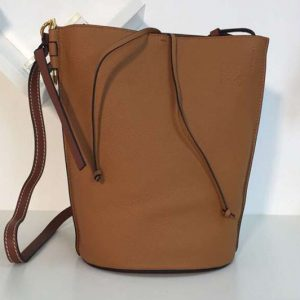 Replica Loewe Gate Bucket Bags Soft Grained Calf Leather Brown