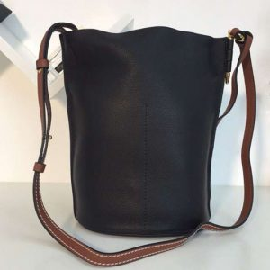 Replica Loewe Gate Bucket Bags Soft Grained Calf Leather Black