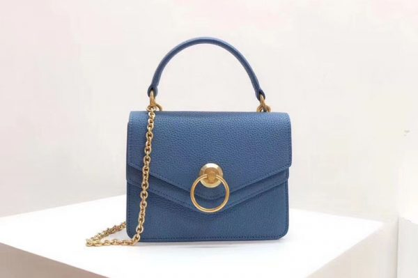 Replica Mulberry Small Harlow Satchel Bags Small Classic Grain Leather Blue