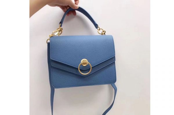 Replica Mulberry Harlow Satchel Bags Small Classic Grain Leather Blue