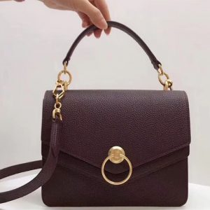 Replica Mulberry Harlow Satchel Bags Small Classic Grain Leather Bordeaux