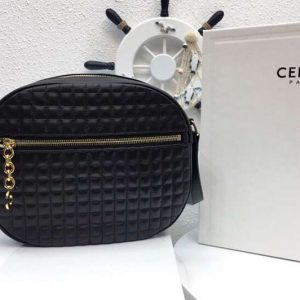 Replica Celine Quilted Calfskin Medium C Charm Bags Black