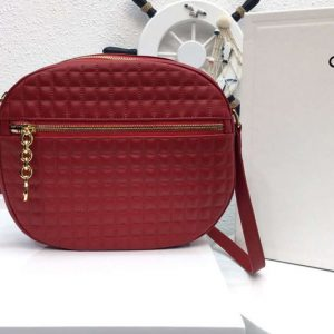 Replica Celine Quilted Calfskin Medium C Charm Bags Red