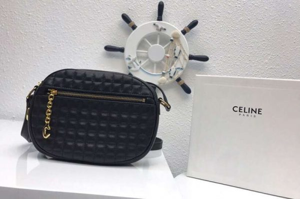 Replica Celine Quilted Calfskin Small C Charm Bags Black