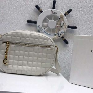 Replica Celine Quilted Calfskin Small C Charm Bags White