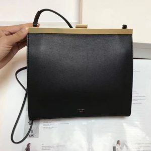 Replica Celine Mini Clasp In Natural Calfskin Crossbody Bags Black