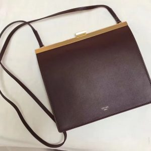 Replica Celine Mini Clasp In Natural Calfskin Crossbody Bags Bordeaux