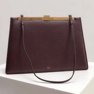 Replica Celine Clasp In Natural Calfskin Crossbody Bags Bordeaux