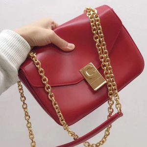 Replica Celine Shiny Calfskin Medium C Bags Red