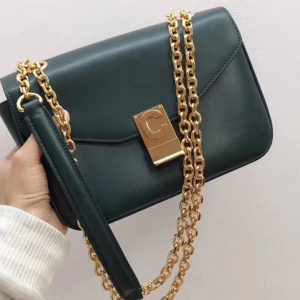 Replica Celine Shiny Calfskin Medium C Bags Green