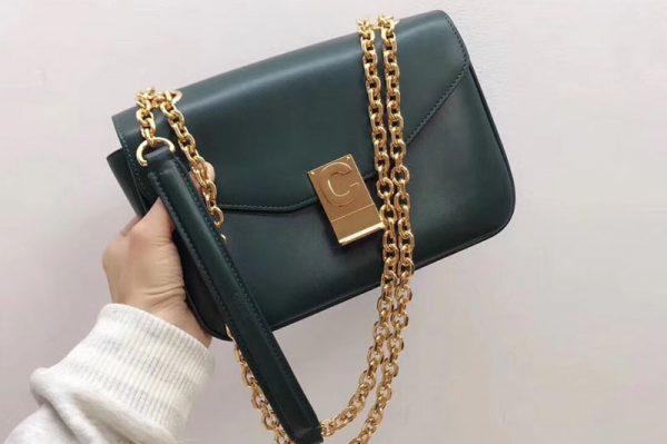 Replica Celine Shiny Calfskin Medium C Bags Green