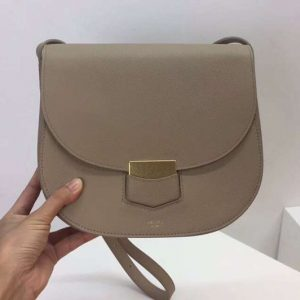 Replica Celine Medium Trotteur Bag in Grained Calfskin Khaki