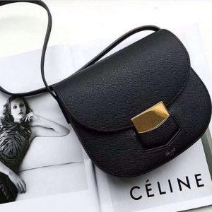 Replica Celine Medium Trotteur Bag in Grained Calfskin Black