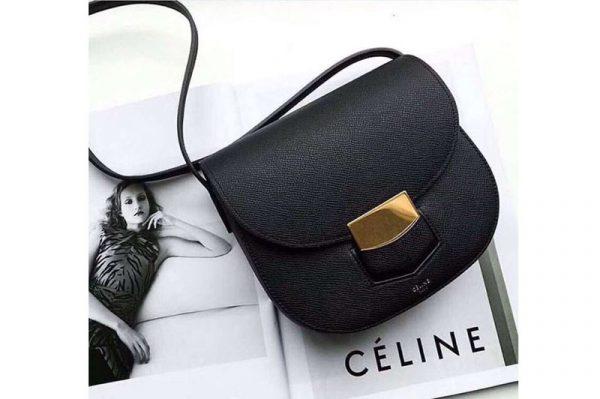 Replica Celine Medium Trotteur Bag in Grained Calfskin Black
