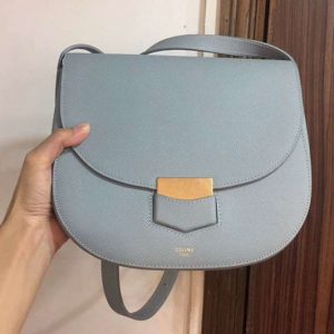 Replica Celine Medium Trotteur Bag in Grained Calfskin Blue
