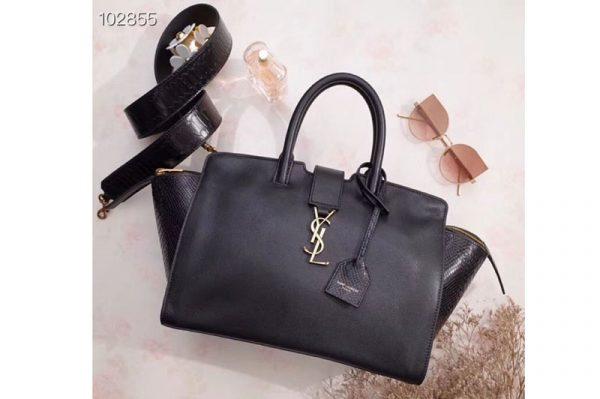 Replica YSL Saint Laurent Downtown Small Cabas Bags Original Leather 436832 Black Gold Hardware