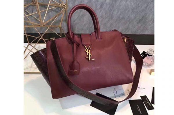 Replica YSL Saint Laurent Downtown Small Cabas Bags Original Leather 436832 Dark Red