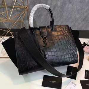 Replica YSL Saint Laurent Downtown Small Cabas Bags Crocodile Leather 436832 Black