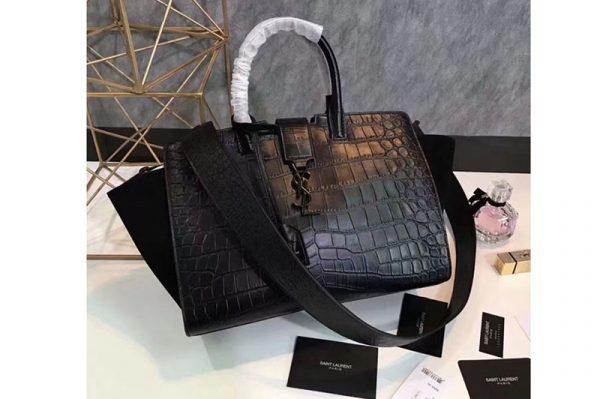 Replica YSL Saint Laurent Downtown Small Cabas Bags Crocodile Leather 436832 Black