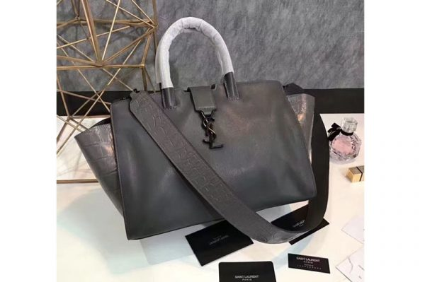 Replica YSL Saint Laurent Downtown Small Cabas Bags Grey Leather and Crocodile Leather 436832 Grey