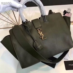 Replica YSL Saint Laurent Downtown Small Cabas Bags Original Leather And Suede 436832 Green Gold Hardware