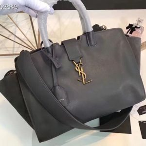 Replica YSL Saint Laurent Downtown Small Cabas Bags Original Leather And Suede 436832 Gray Gold Hardware