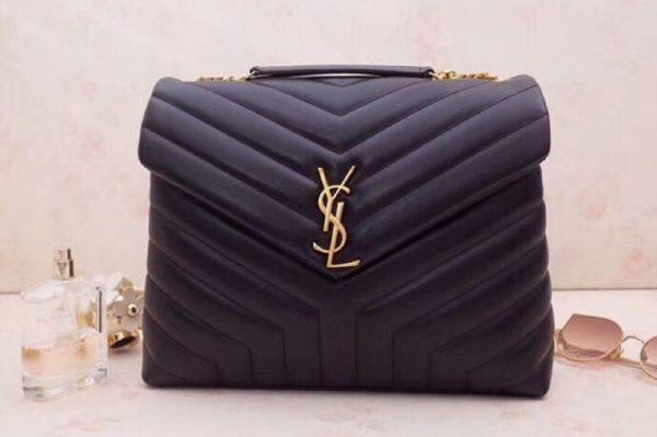 Replica YSL Saint Laurent Medium Loulou Chain Bags Black Gold Hardware