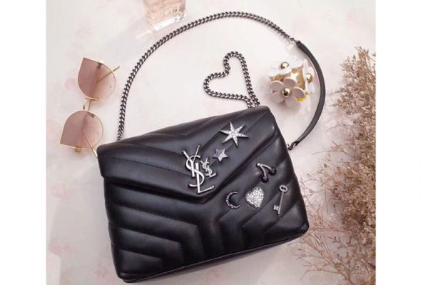 Replica YSL Saint Laurent Loulou Bag in Matelasse Leather With Crystal 470837 Black