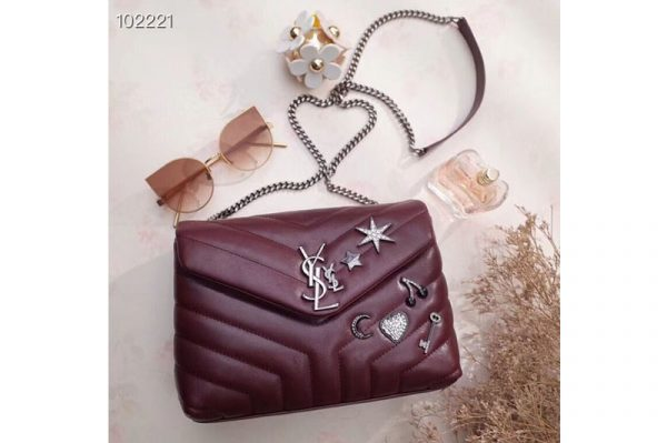 Replica YSL Saint Laurent Loulou Bag in Matelasse Leather With Crystal 470837 Wine