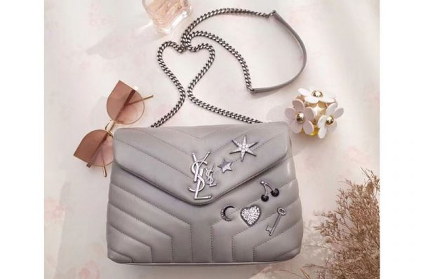 Replica YSL Saint Laurent Loulou Bag in Matelasse Leather With Crystal 470837 Gray