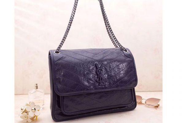 Replica YSL Saint Laurent Niki Large Bag Vintage Leather 498883 Navy Blue