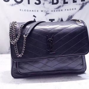 Replica YSL Saint Laurent Niki Large Bag Vintage Leather 498883 Black