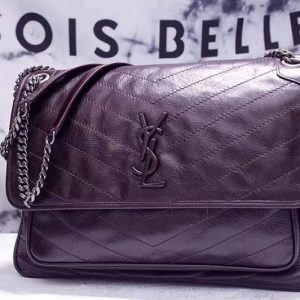 Replica YSL Saint Laurent Niki Large Bag Vintage Leather 498883 Dark Coffee