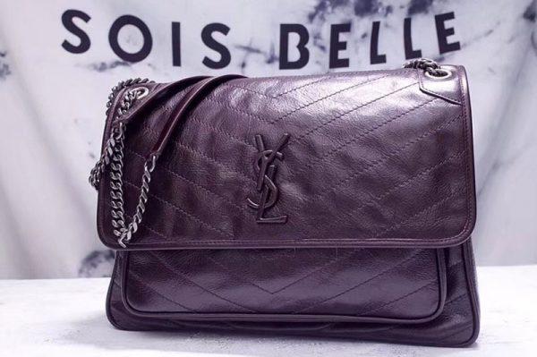 Replica YSL Saint Laurent Niki Large Bag Vintage Leather 498883 Dark Coffee
