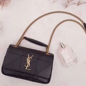 Replica YSL Saint Laurent Jamie Small Carre Rive Gauche in Black Lambskin Leather 515820 Gold Hardware