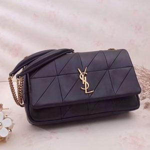 Replica YSL Saint Laurent Jamie Medium Carre Rive Gauche in Black Lambskin Leather 515821 Gold Hardware