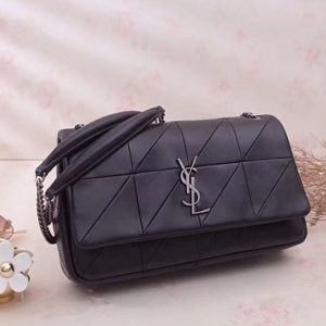 Replica YSL Saint Laurent Jamie Medium Carre Rive Gauche in Black Lambskin Leather 515821 Silver Hardware
