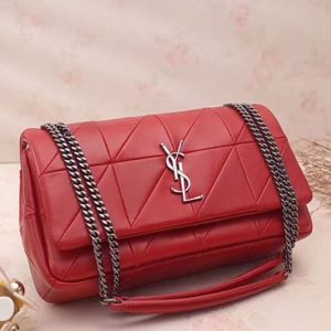 Replica YSL Saint Laurent Jamie Medium Carre Rive Gauche in Red Lambskin Leather 515821