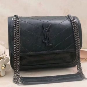 Replica YSL Saint Laurent Niki Baby In Crinkled Vintage Leather 533037 Dark Green
