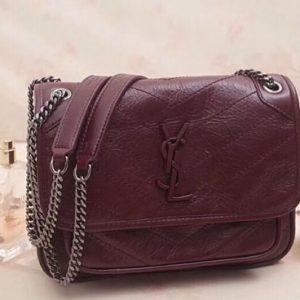 Replica YSL Saint Laurent Niki Baby In Crinkled Vintage Leather 533037 Bordeaux