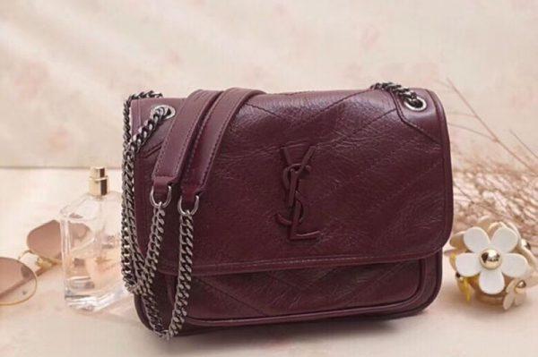 Replica YSL Saint Laurent Niki Baby In Crinkled Vintage Leather 533037 Bordeaux