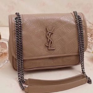 Replica YSL Saint Laurent Niki Baby In Crinkled Vintage Leather 533037 Apricot