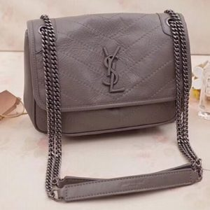 Replica YSL Saint Laurent Niki Baby In Crinkled Vintage Leather 533037 Light Gray